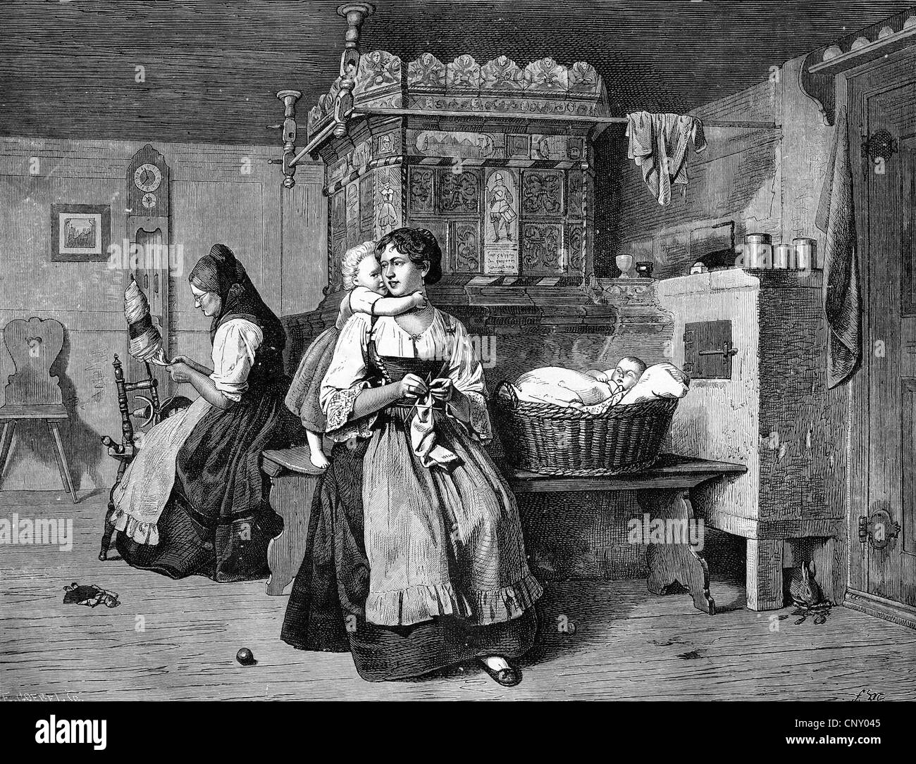 Sunday afternoon in the parlour in Flanders, Belgium, historical woodcut, circa 1888 - Stock Image