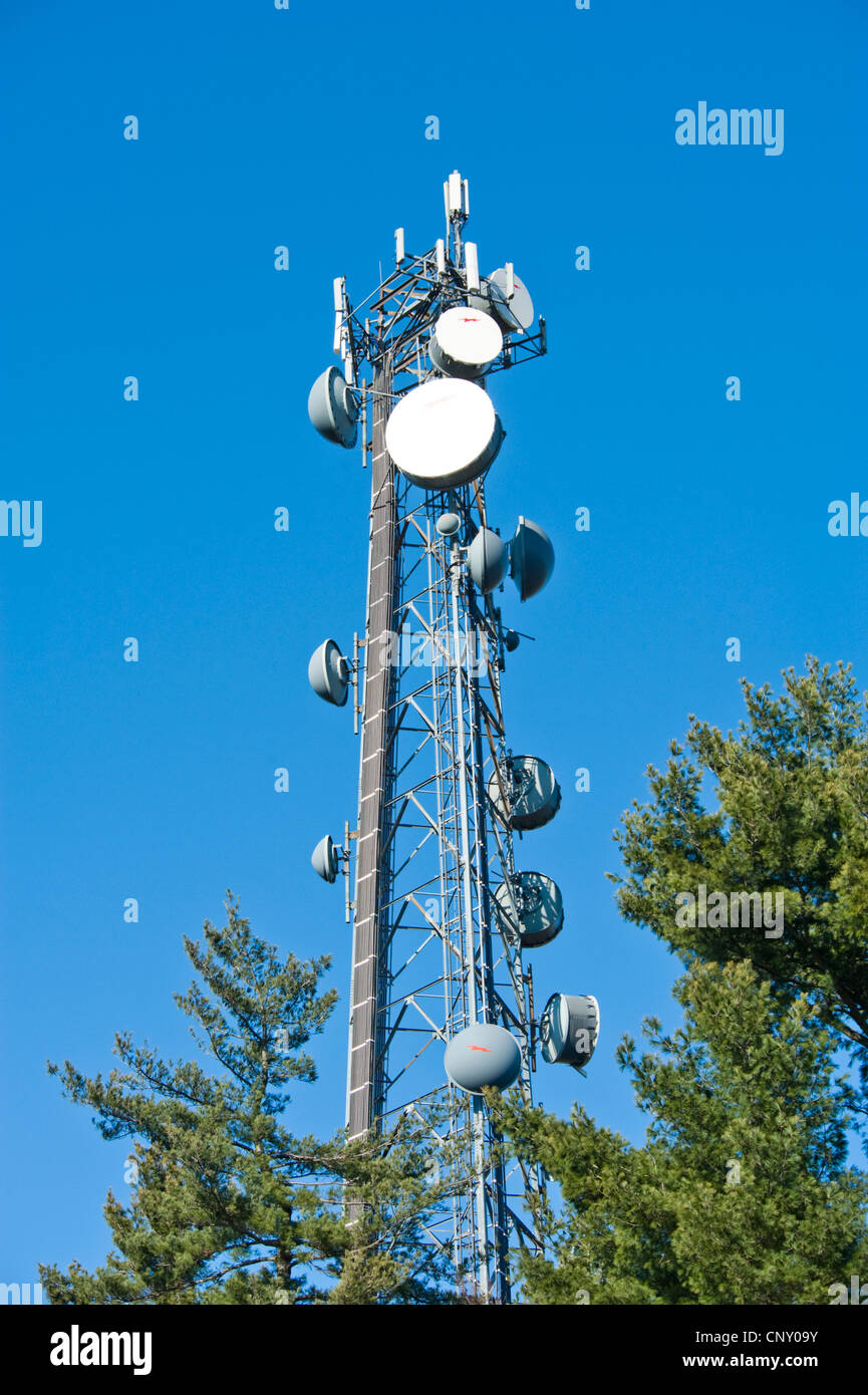 Cell tower and radio antenna Stock Photo