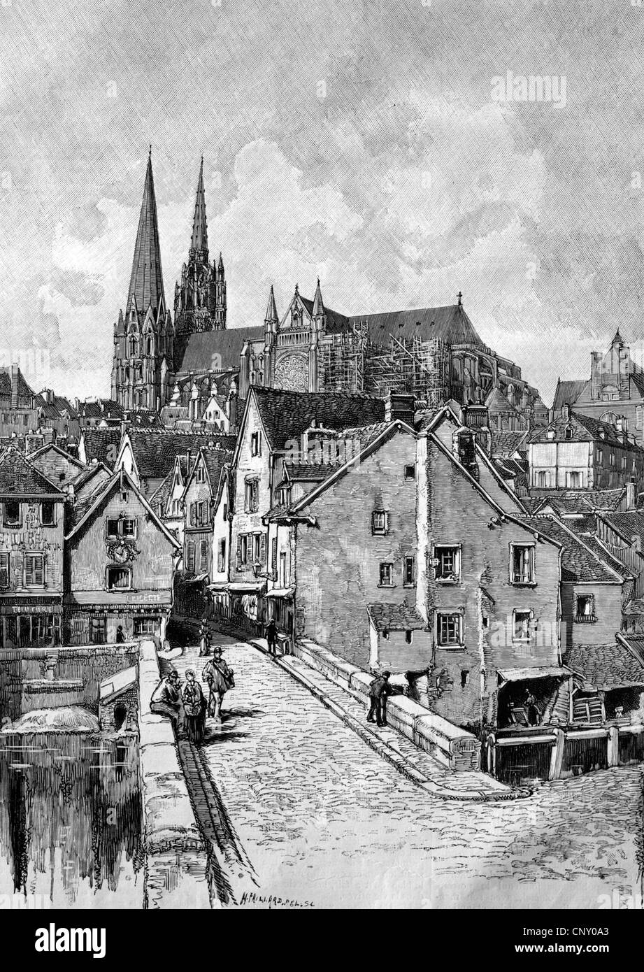 Chartres, France, historical woodcut, circa 1888 - Stock Image