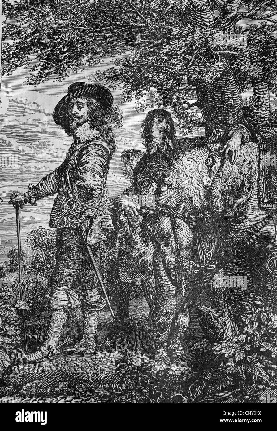 Charles I, 1600 - 1649, King of England, historical woodcut, circa 1888 - Stock Image