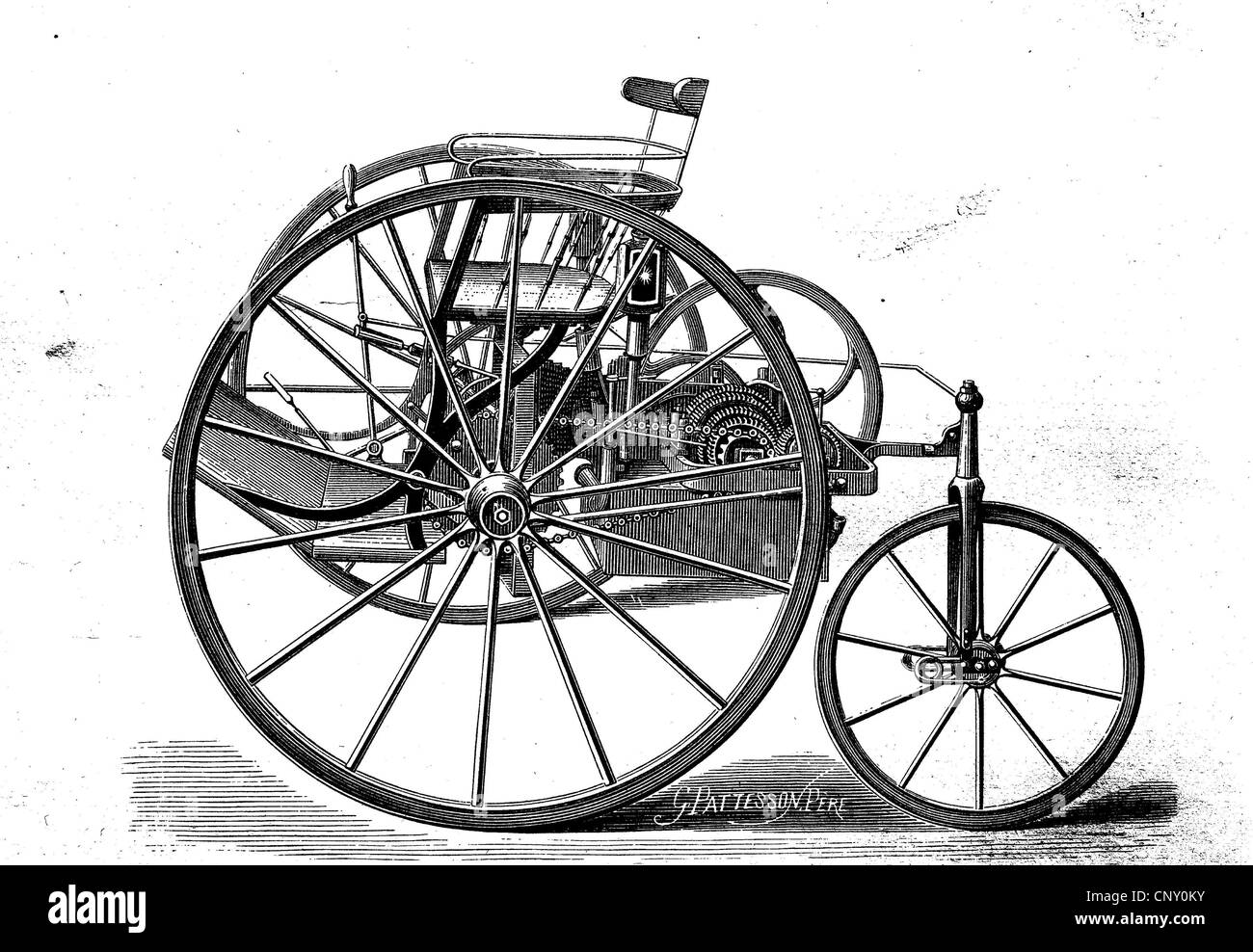 Draft Tricycle by William Ayrton and John Perry, about 1880, the first electric car - Stock Image
