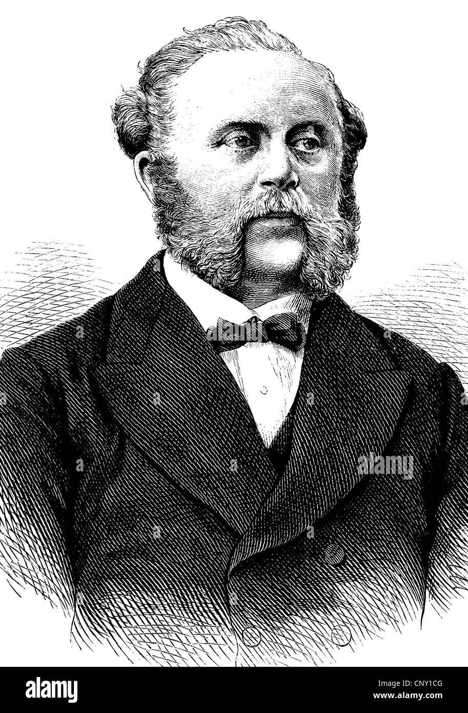 Wilhelm Julius Foerster, 1832 - 1921, a German astronomer, historical engraving, about 1889 - Stock Image