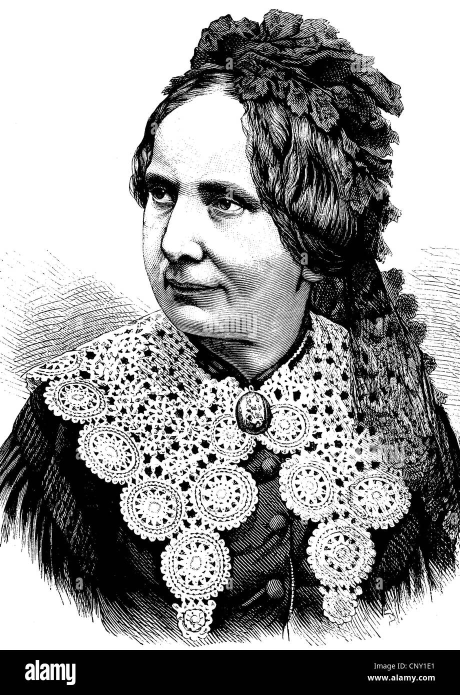 Betty Paoli, 1814 - 1894, an Austrian poet, novelist, journalist and translator, historical engraving, about 1889 - Stock Image