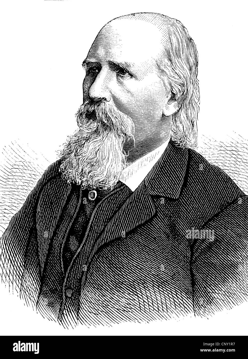 Franz Emanuel August Geibel, 1815-1884, a German poet, historic engraving, about 1888 - Stock Image