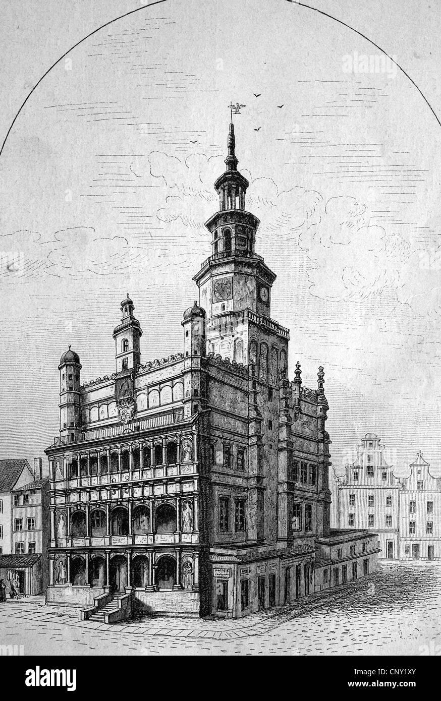 Town hall of Posen, Silesia, Poland, historical engraving, about 1888 - Stock Image