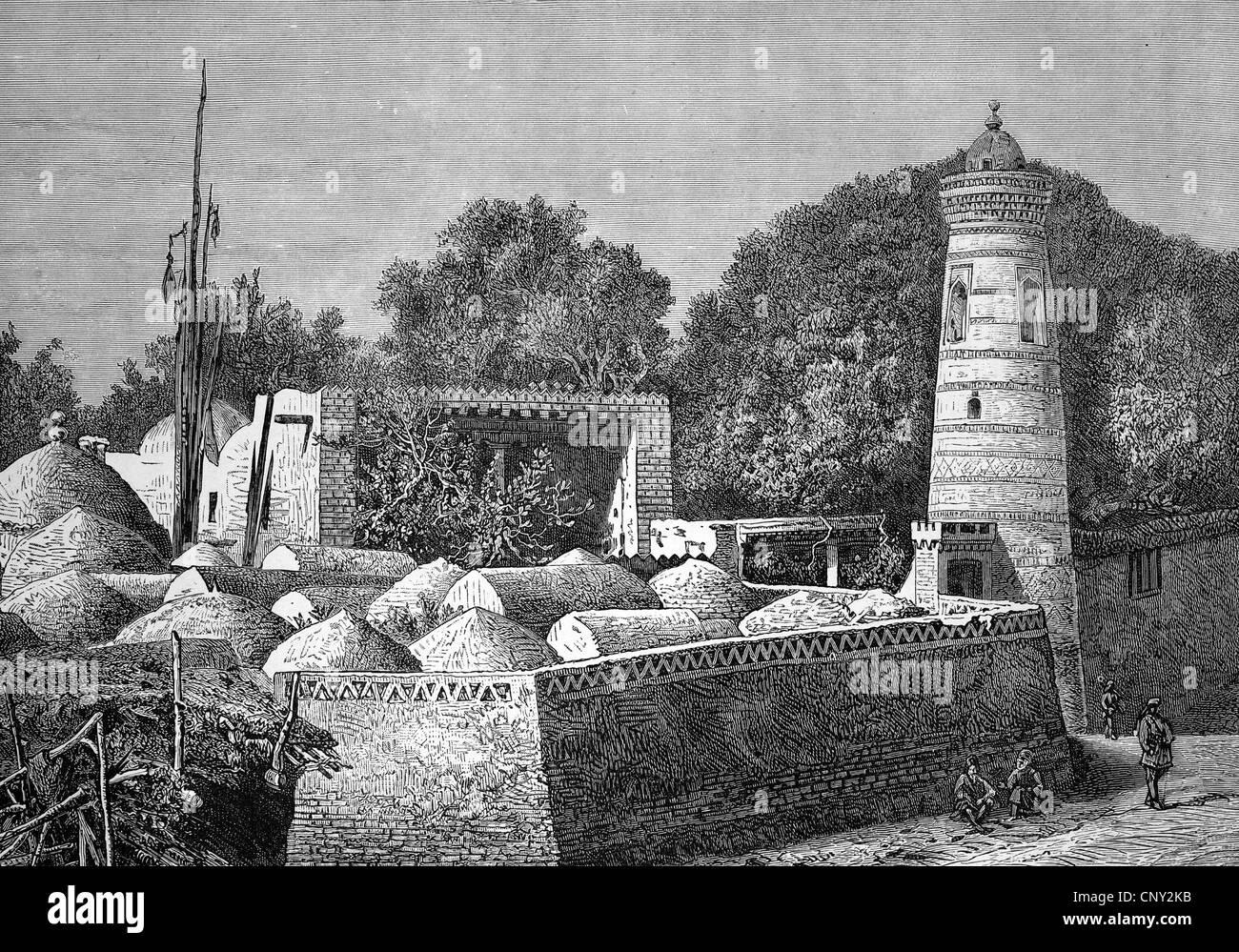 Islamic cemetery in Khiva, Xiva, an oasis town in northwestern Uzbekistan, historical illustration, wood engraving, - Stock Image