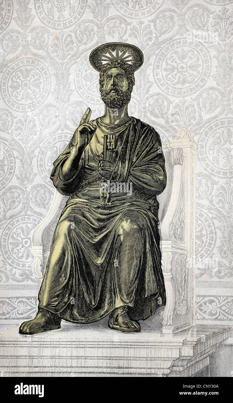 Statue of St. Peter in St. Peter's Basilica in Rome, Italy, historical illustration, wood engraving, circa 1888 - Stock Image