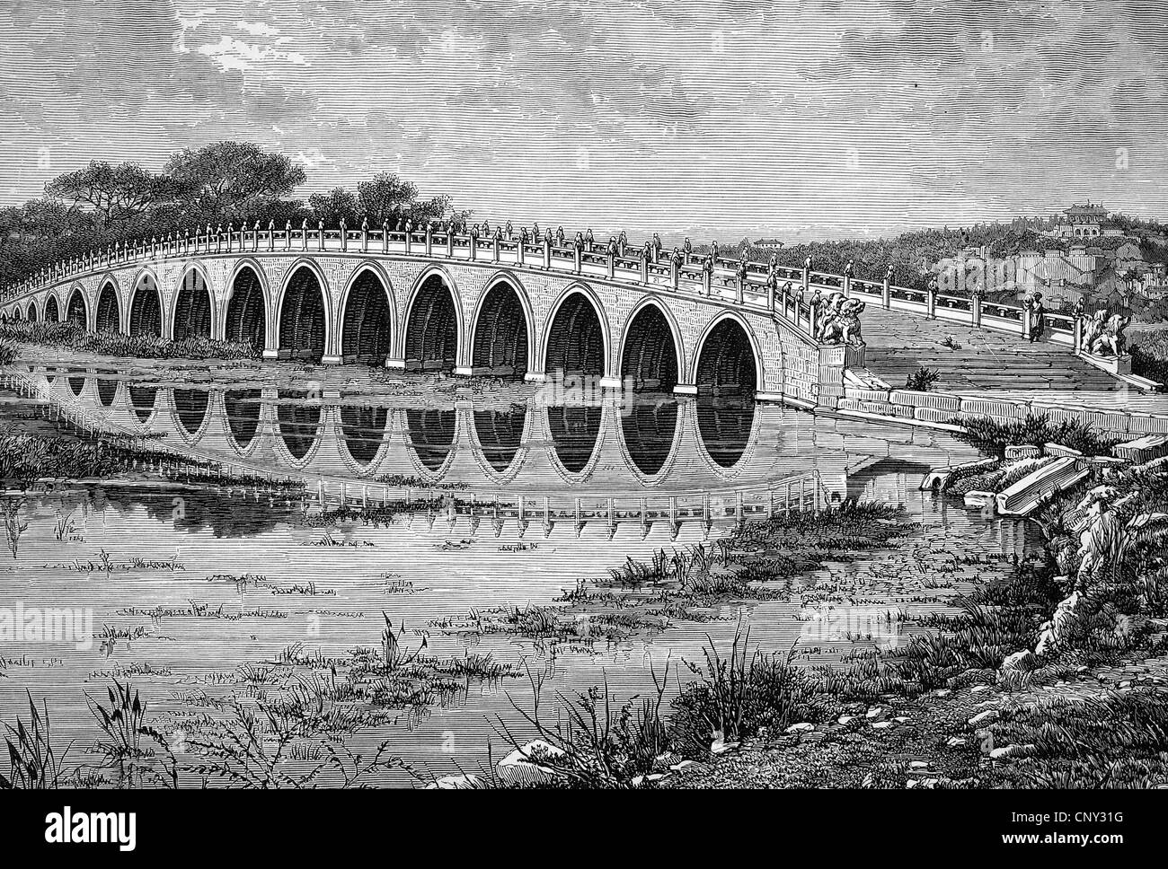 Marble Bridge of Seventeen Arches leading to the island in the lake of Onane-Cheon-Chane, China, historical illustration, - Stock Image