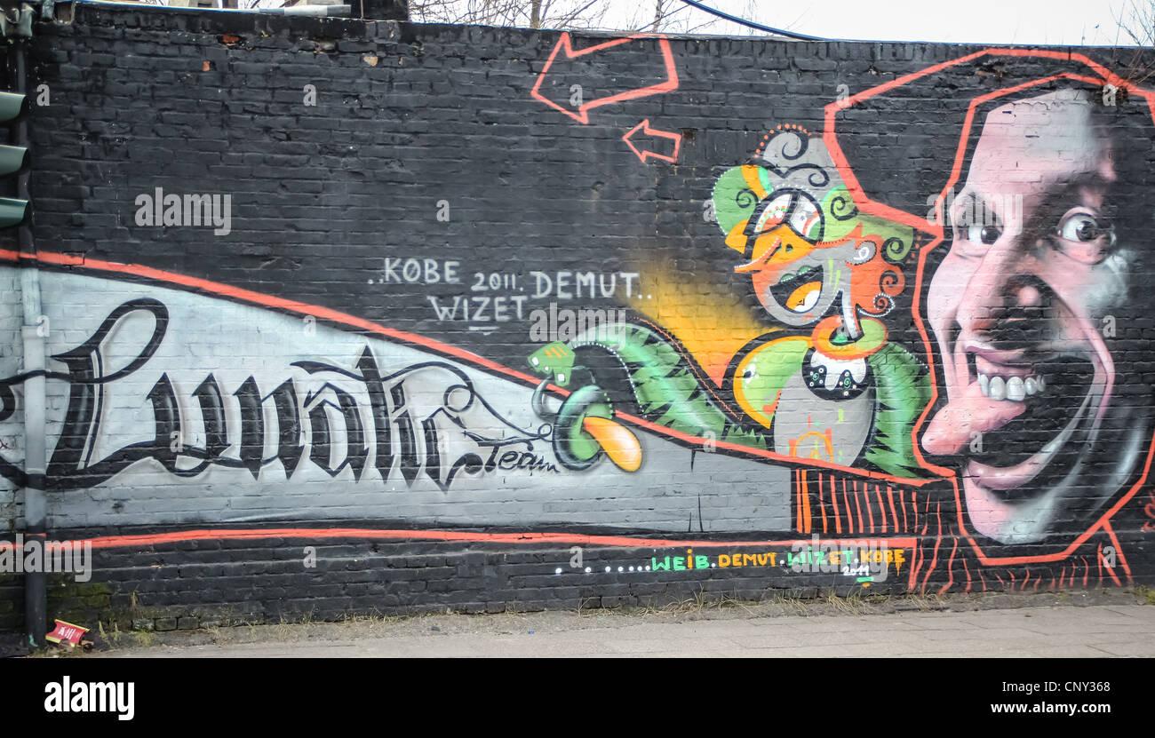 Graffiti near East Side Gallery in Berlin, Germany - Stock Image