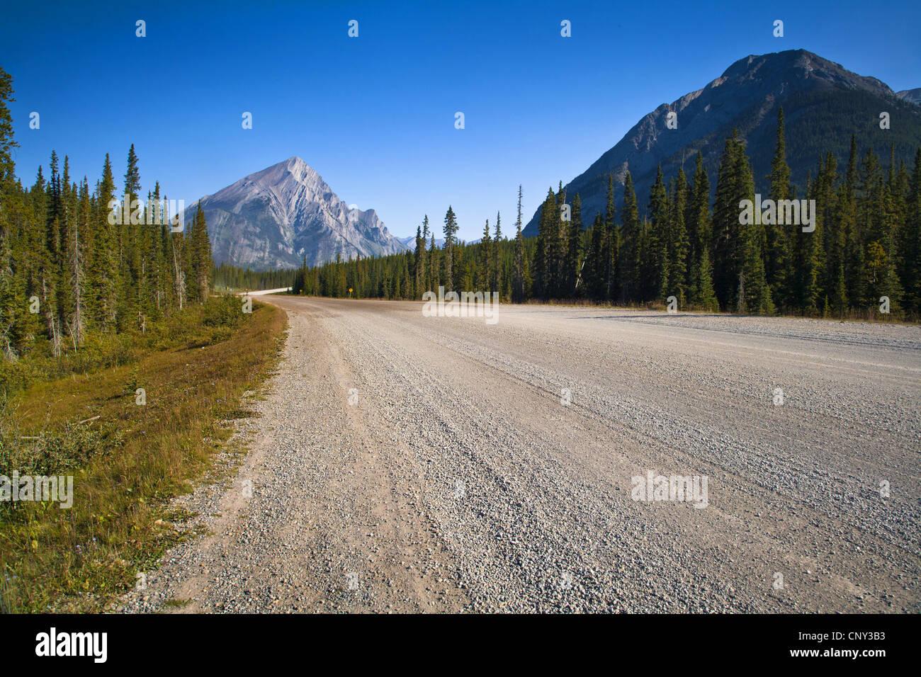 unpaved street in Kananaskis Country, Canada, Alberta, Kananaskis Country - Stock Image