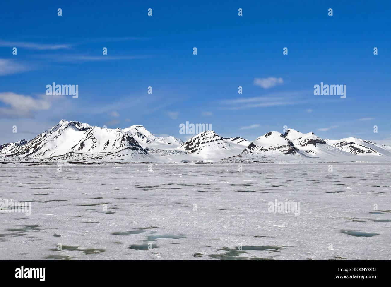 frozen up fjord Hornsund, Norway, Svalbard, Svalbard Inseln - Stock Image