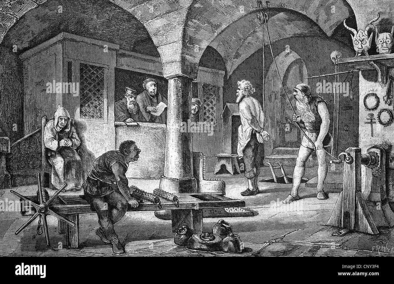 The extortion of a confession in a torture chamber, historical illustration, wood engraving, circa 1888 Stock Photo
