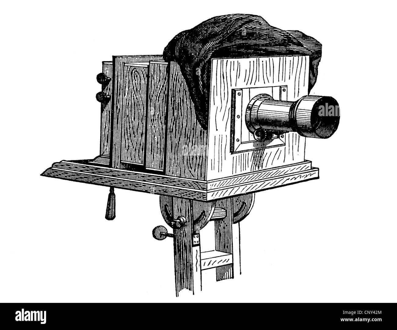 Camera, plate camera, historical wood engraving, circa 1888 - Stock Image