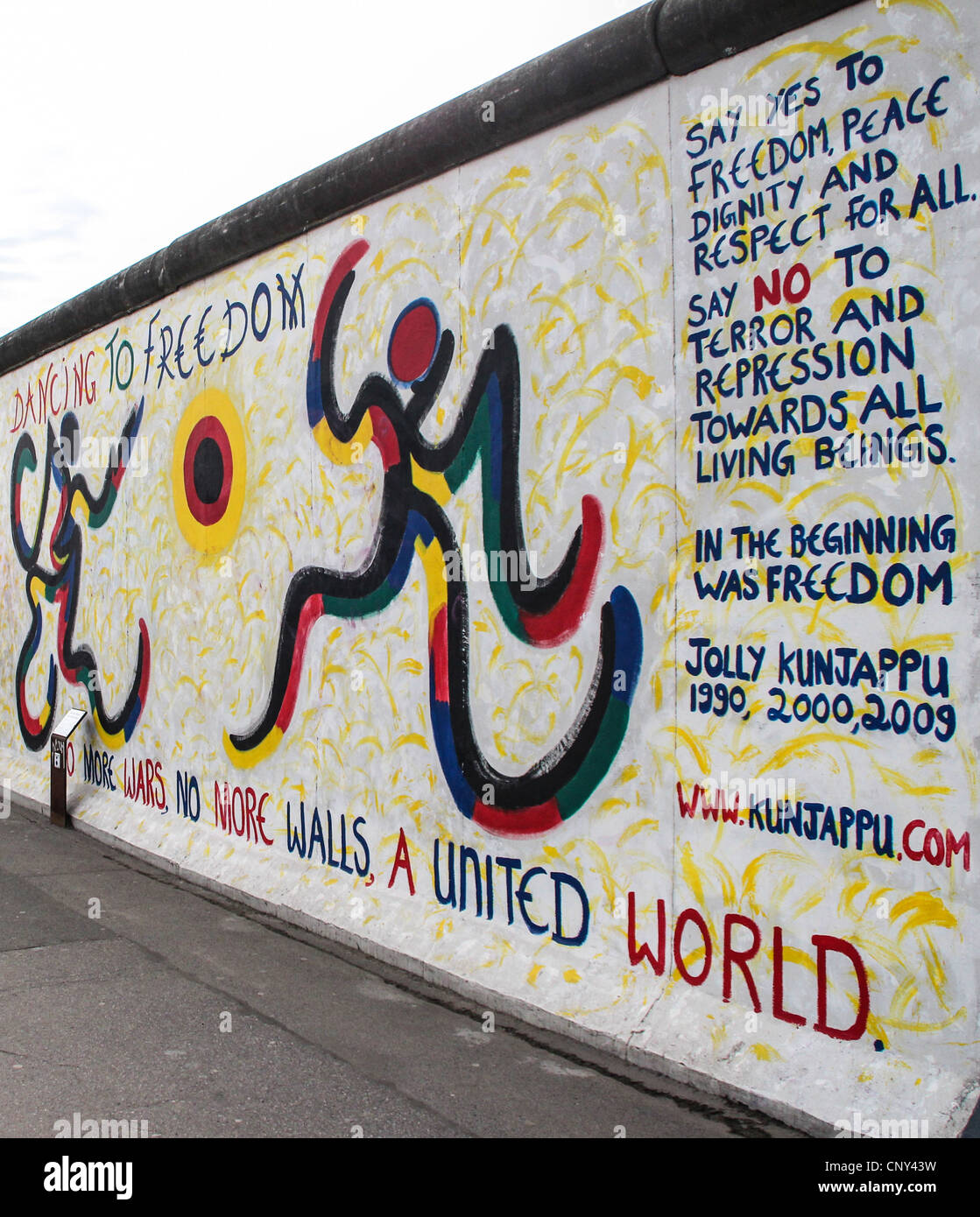 The East Side Gallery's murales are the street-art in Berlin, painted on their own famous wall - Stock Image