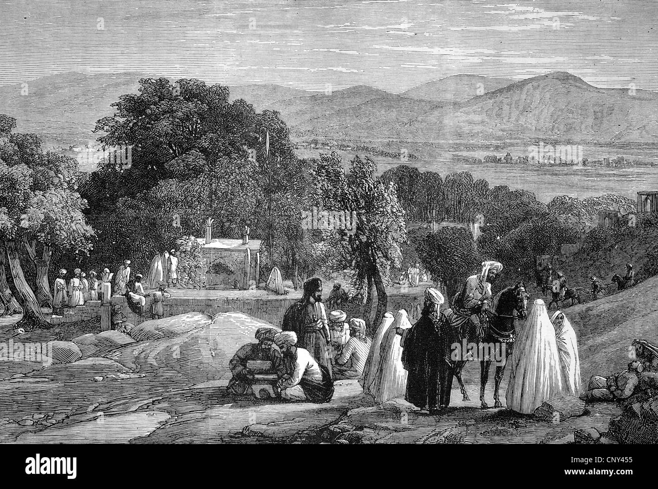 Grave of the Emperor Baber in Kabul, Afghanistan, historical illustration, wood engraving, circa 1888 - Stock Image