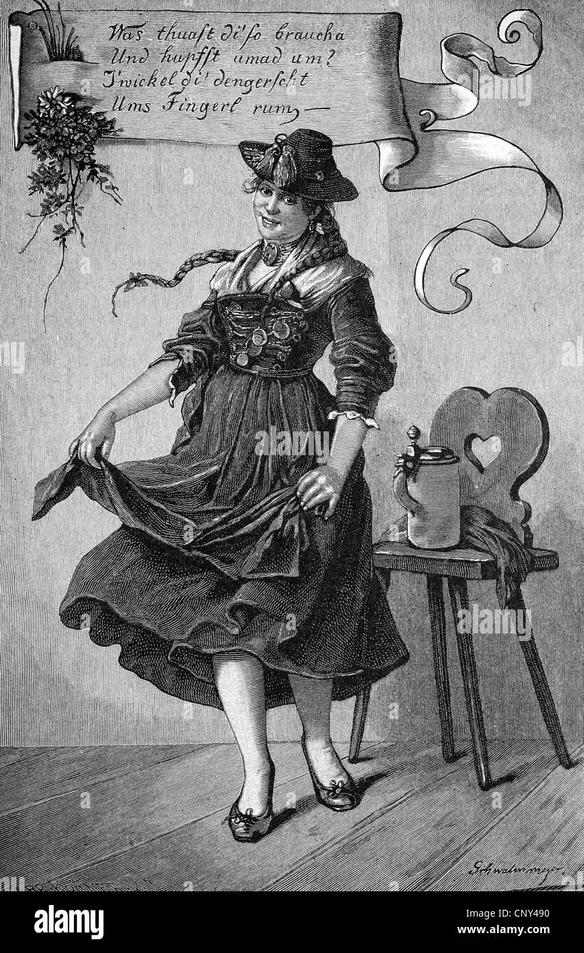 Schuhplattler, a traditional Austro-Bavarian folk dance, Germany, historical engraving, about 1888 - Stock Image