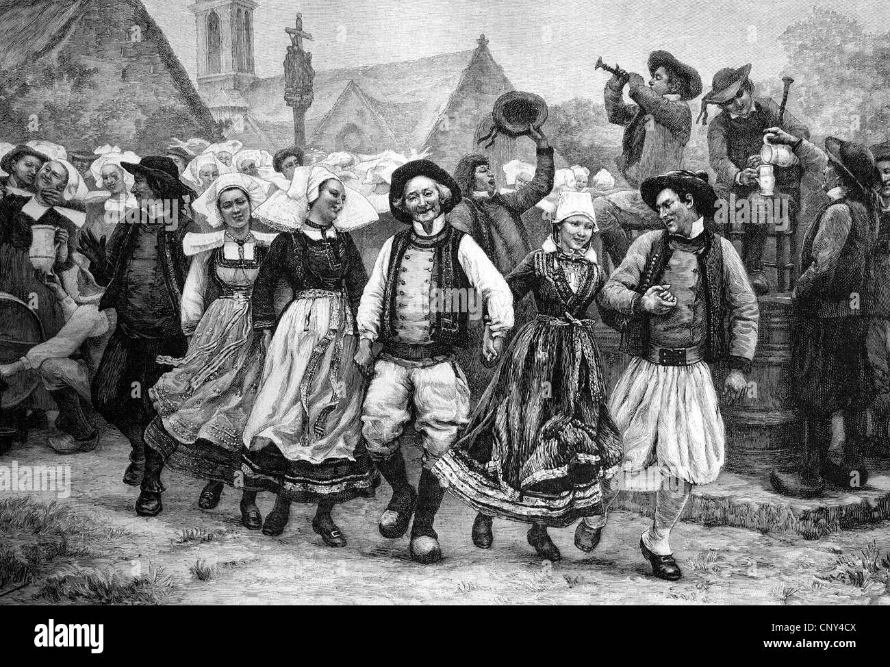 Breton Gavotte, French folk dance, Brittany, France, historical illustration, wood engraving, about 1888 - Stock Image