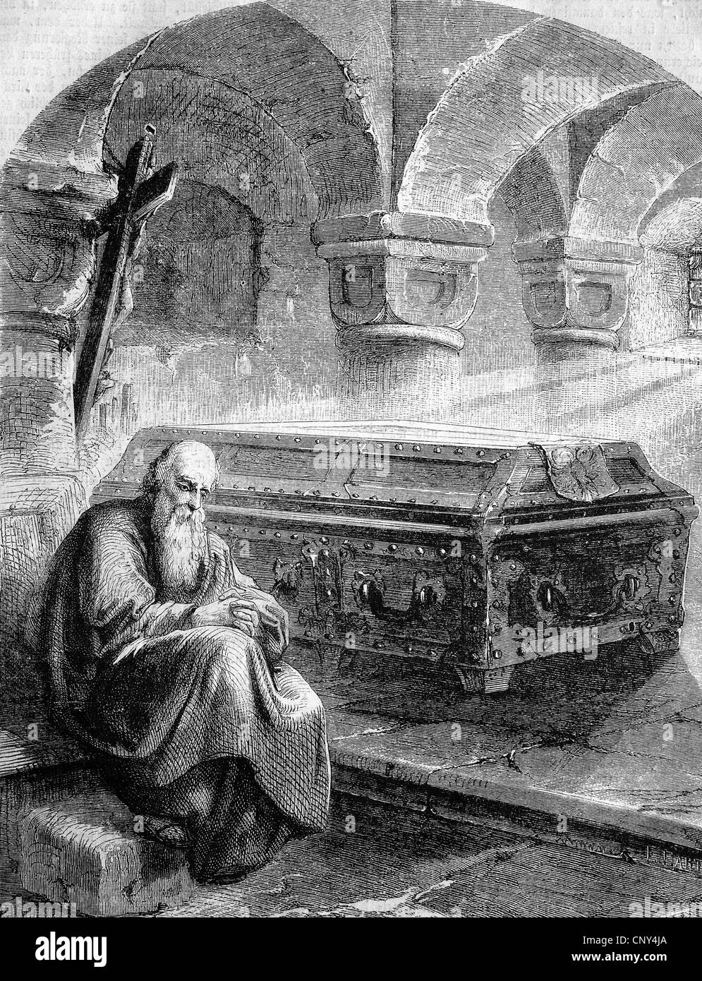 Monk beside the coffin of Henry IV on Meuse Island, historical wood engraving, circa 1888 - Stock Image