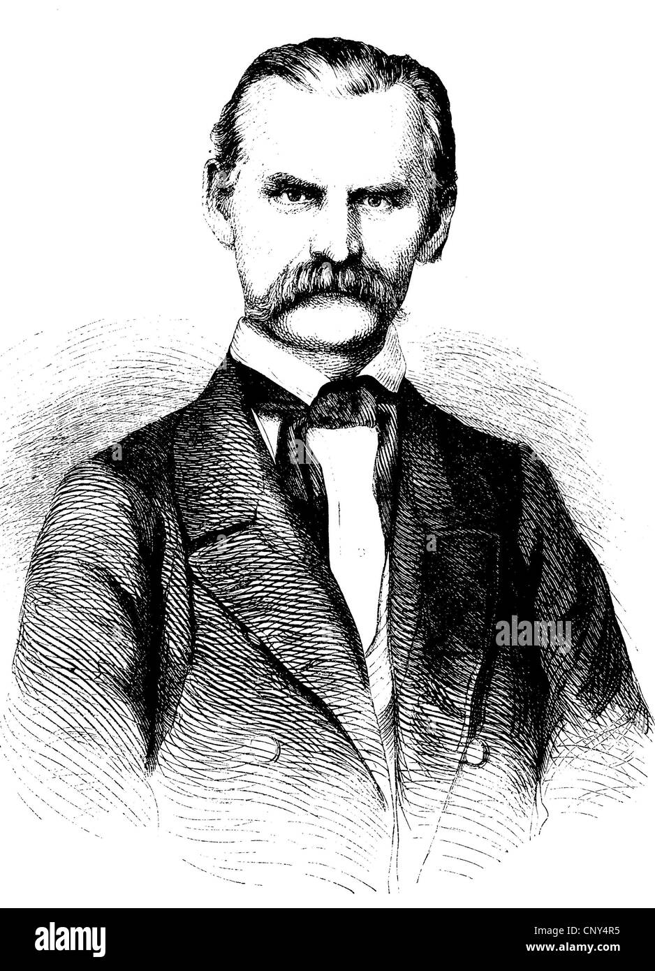 Friedrich Oetker, 1809 - 1881, a German liberal politician and journalist, historical wood engraving, circa 1888 - Stock Image