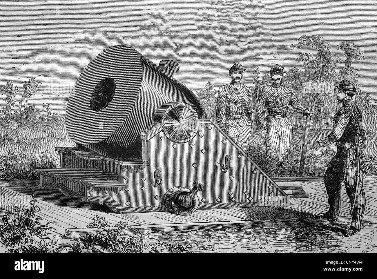The colossal mortar, a cannon, an American invention, historical wood engraving, circa 1888 - Stock Image