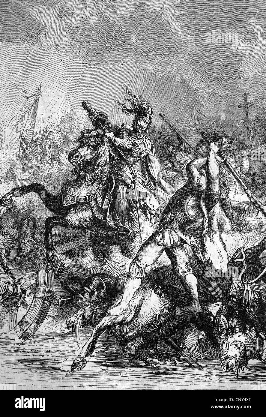Reimer of Wimerstedt slays the squire Thomas Schleinitz. Defeated at the Battle of Hemmingstedt on 17 February 1500, - Stock Image