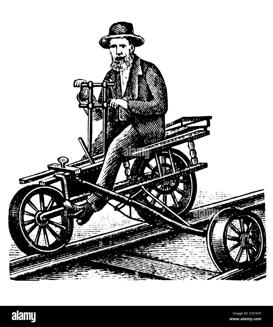 Velocipede or draisine, historical wood engraving, circa 1888 - Stock Image