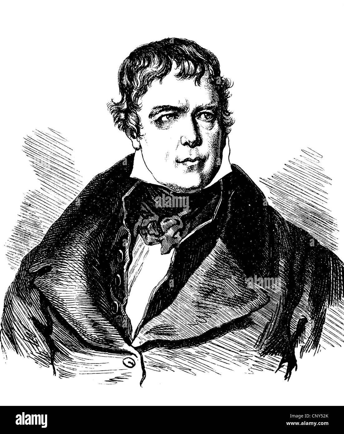 Sir Walter Scott, 1st Baronet of Abbotsford, 1771 - 1832, a Scottish poet and writer, historic wood engraving, about - Stock Image