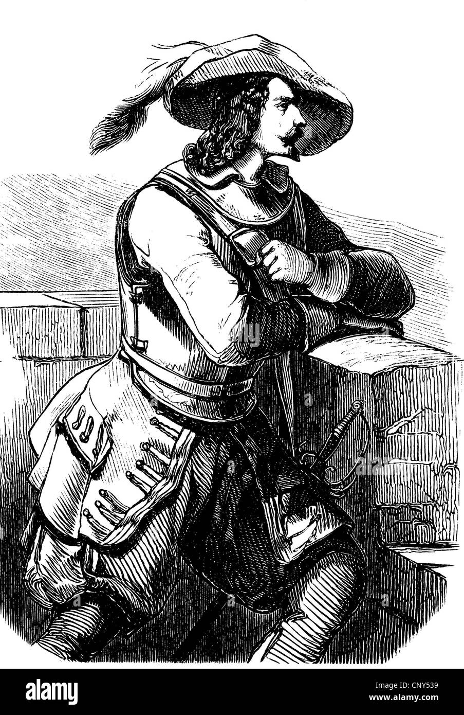 A Spanish nobleman in the Middle Ages, historical wood engraving, about 1888 - Stock Image