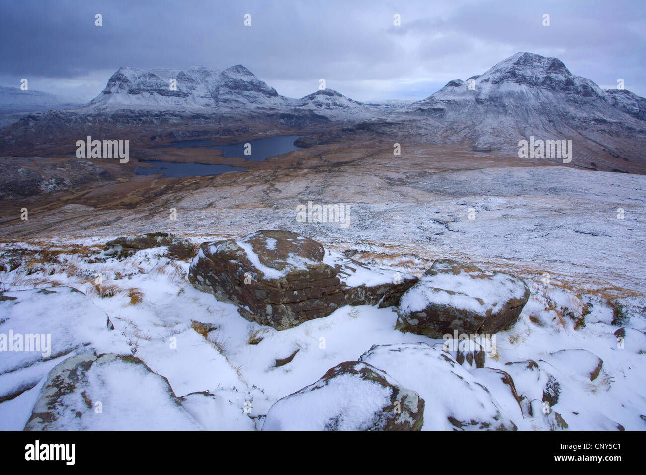 view from Stac Pollaidh towards Cul Mor and Cul Beag and North-west Scotland Geopark, United Kingdom, Scotland, - Stock Image