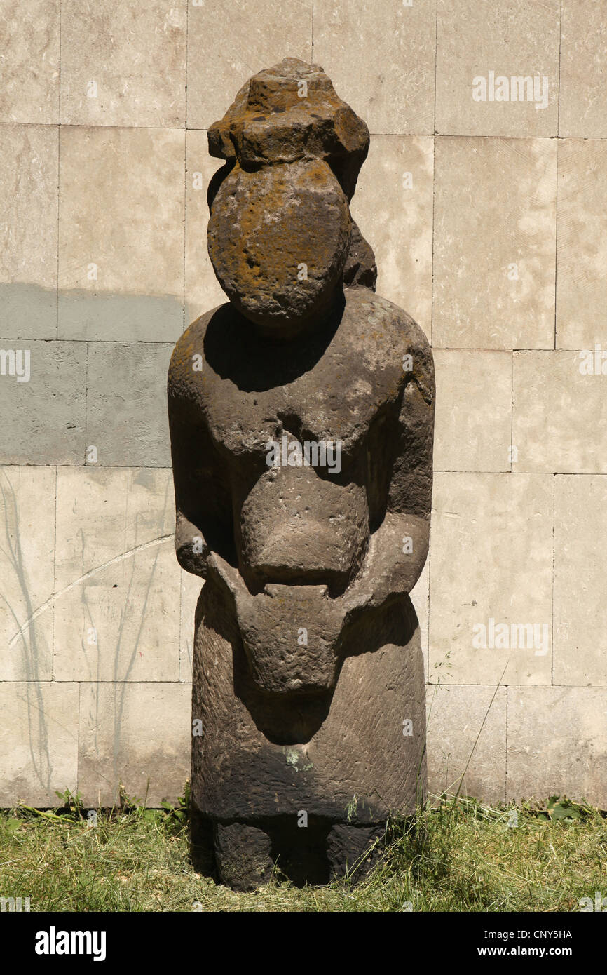 Kipchak stone statue known as the Stony Woman exhibited in front of the Historical Museum in Dnipro (Dnipropetrovsk), - Stock Image