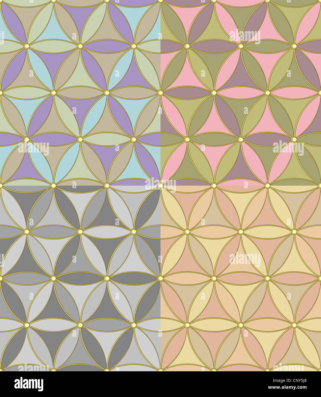 Seamless Geometric Pattern Of Hexagons Of Four Pastel Color Stock