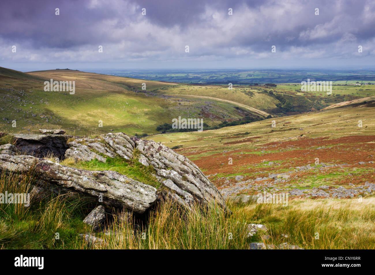 Homerton Hill in Northwest Dartmoor, viewed from Black Tor, Devon, England - Stock Image