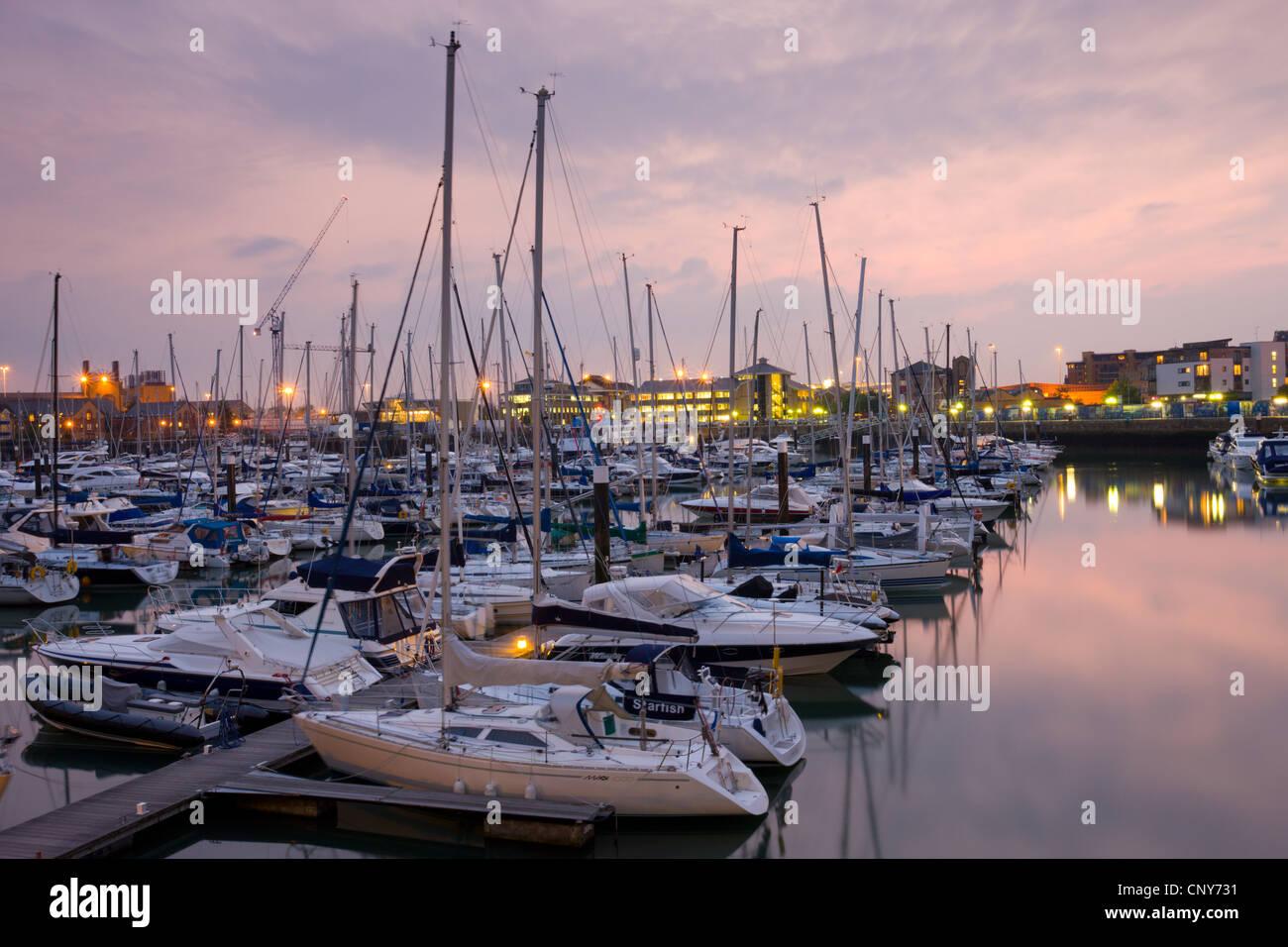 Yachts moored at Ocean Village Marina, Southampton, Hampshire, England - Stock Image