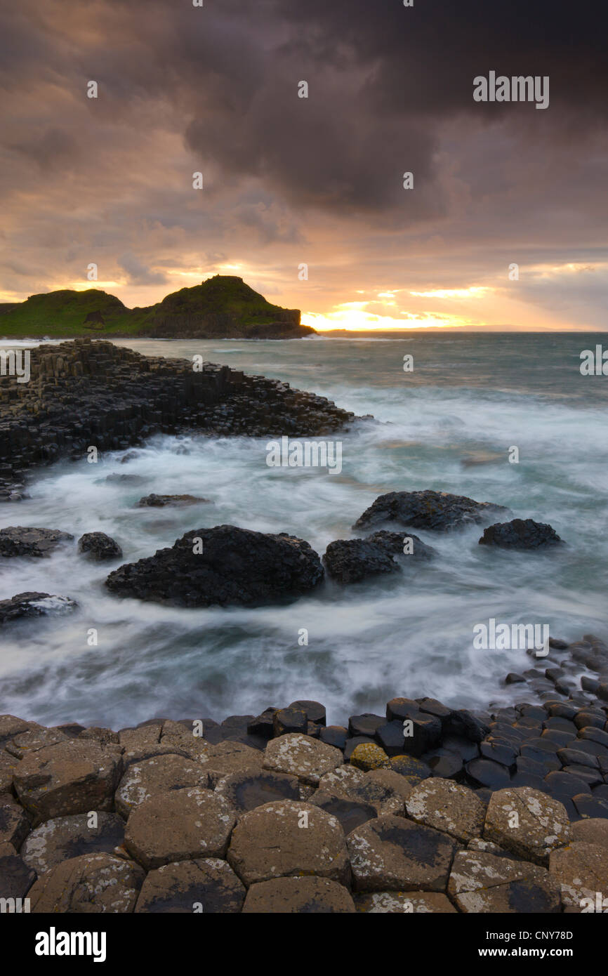 Sunset at Giants Causeway on the County Antrim coast, Northern Ireland - Stock Image