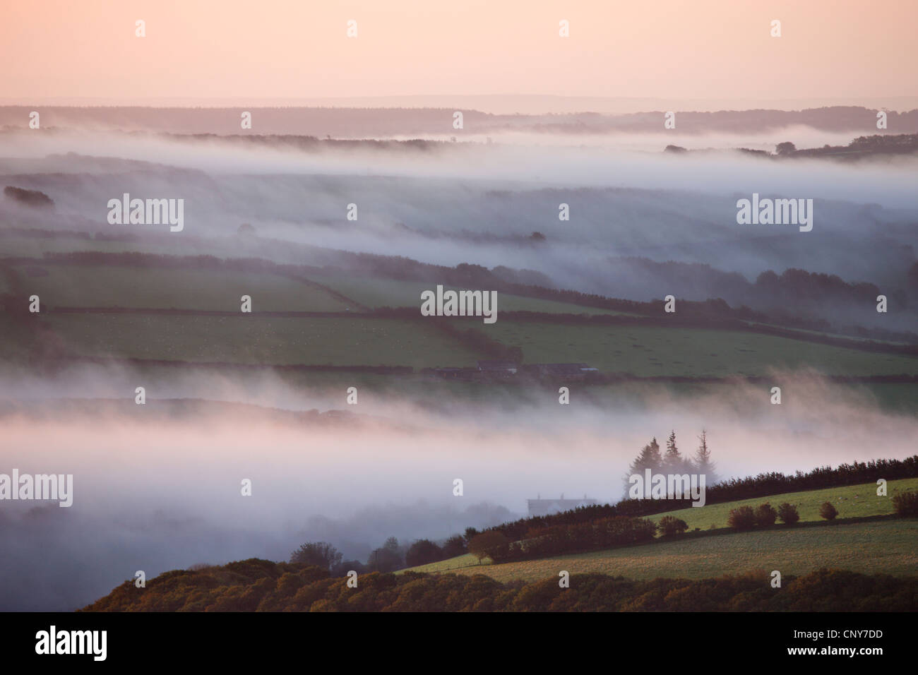 Early morning mist over the Exmoor countryside, viewed from Dunkery Hil, Exmoor National Park, Somerset, England - Stock Image