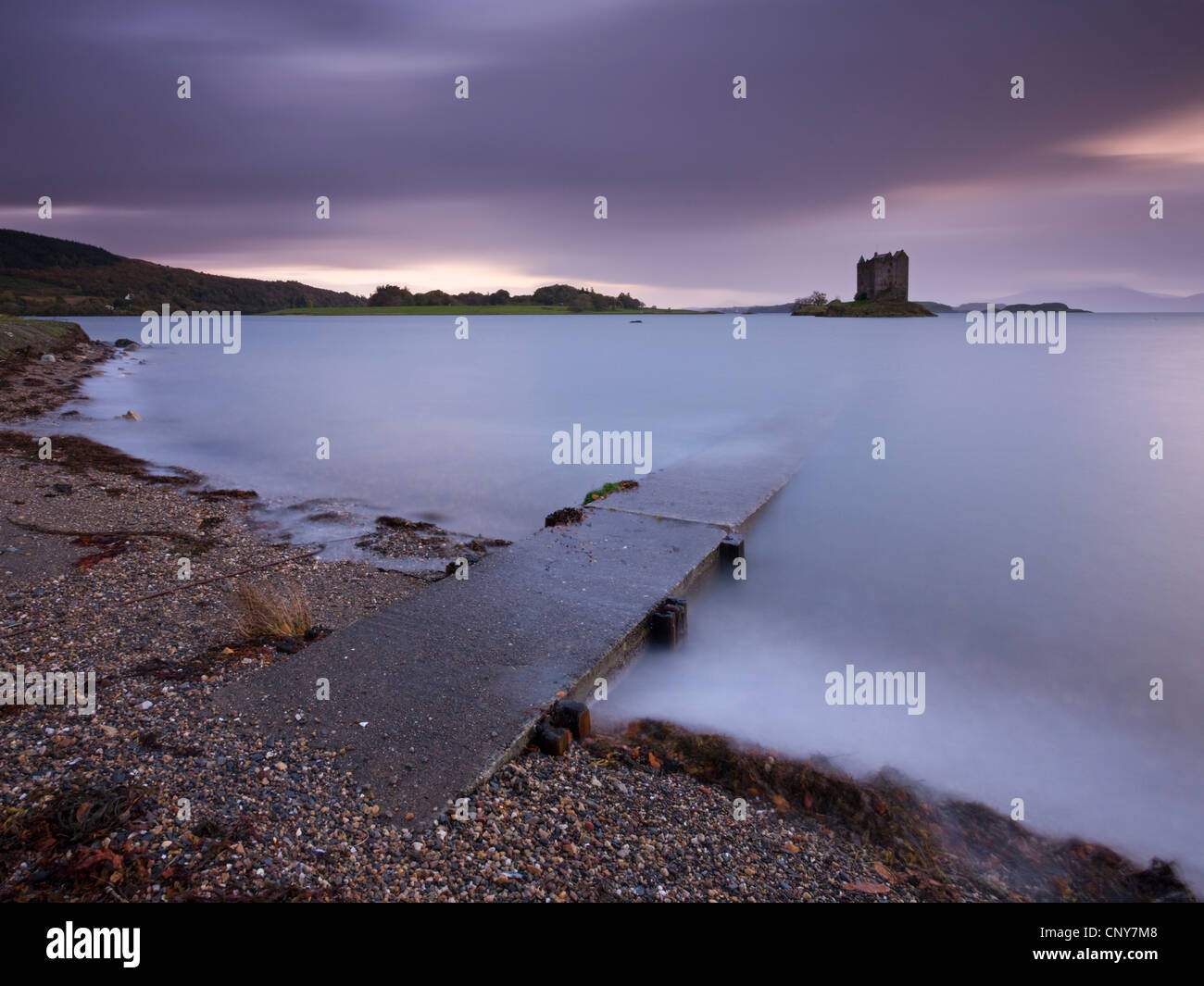 Concrete slipway leading to Castle Stalker and Loch Linnhe, Argyll, Scotland. Autumn (October) 2008 - Stock Image
