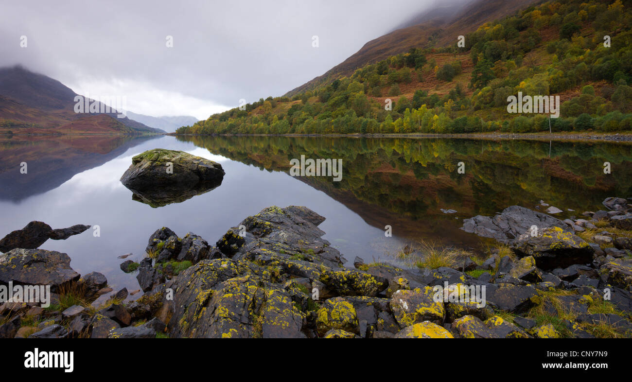 The still waters of Loch Leven on a grey Autumn day, Lochleven, Highlands, Scotland - Stock Image