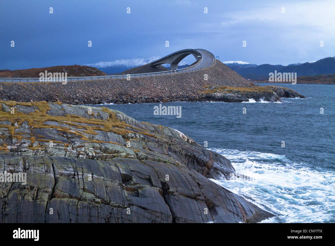 Atlantic road and arch bridge between Kristiansund and Molde, Norway - Stock Image