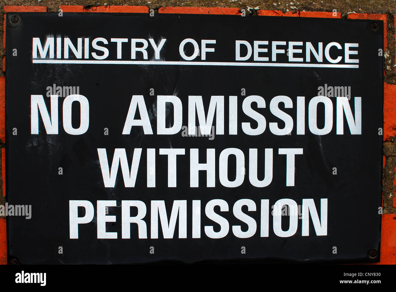 Ministry of defence no admission sign - Stock Image
