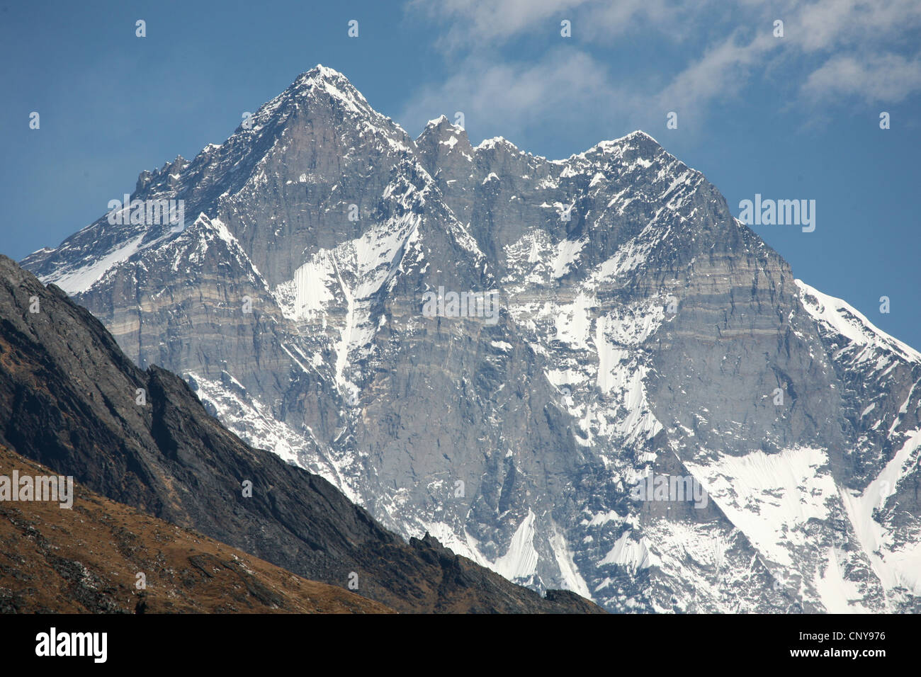South face of Mount Lhotse (8,516 m) in Khumbu region in the Himalayas, Nepal. View from Khunde village. - Stock Image
