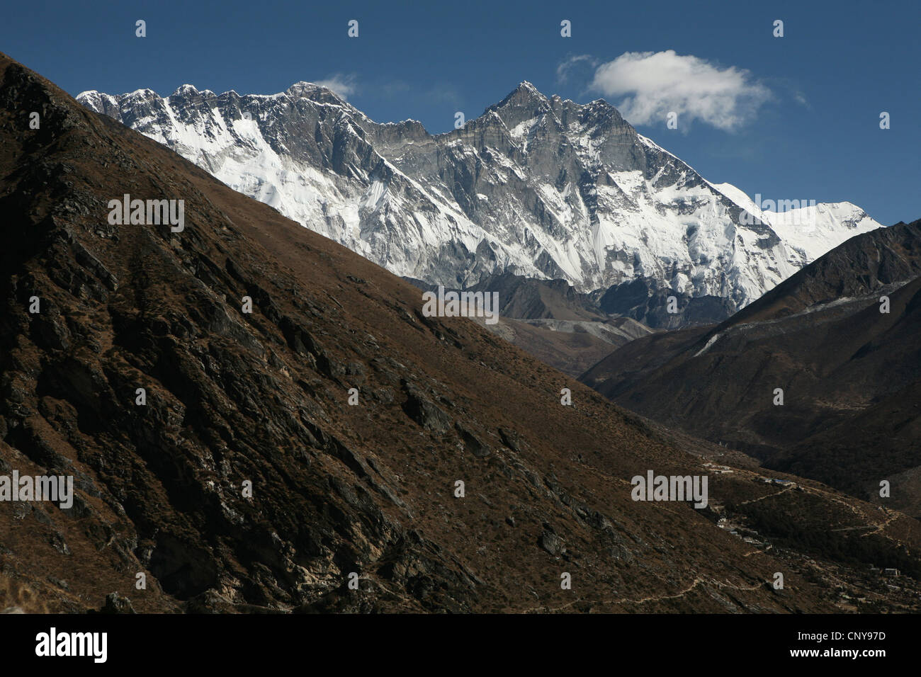 South face of Mount Lhotse (8,516 m) in Khumbu region in the Himalayas, Nepal. View from Pangboche village. - Stock Image