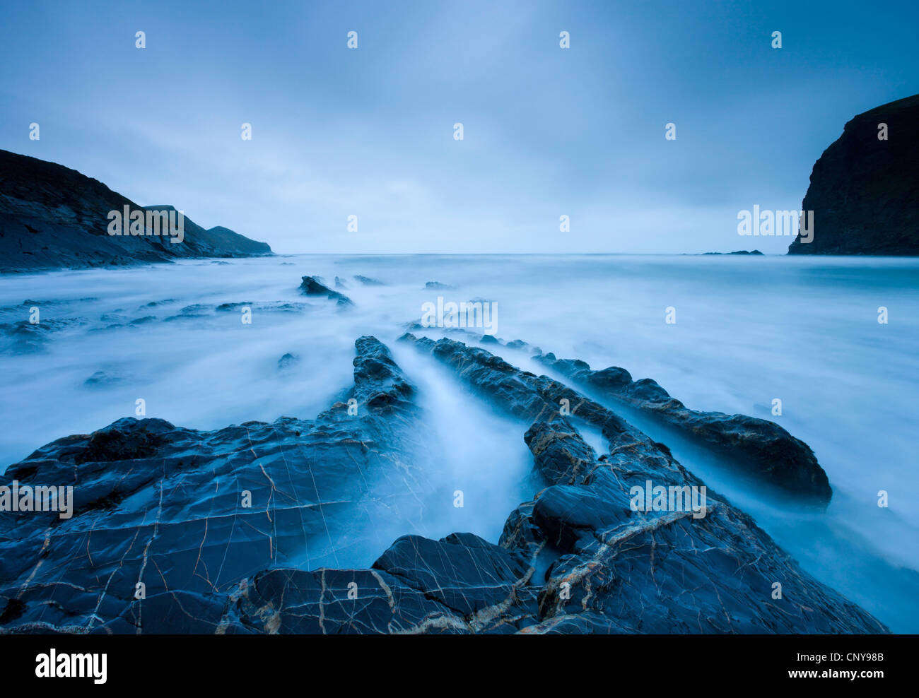 Rugged shores of Crackington Haven, a cove in North Cornwall, England. Winter (March) 2009 - Stock Image