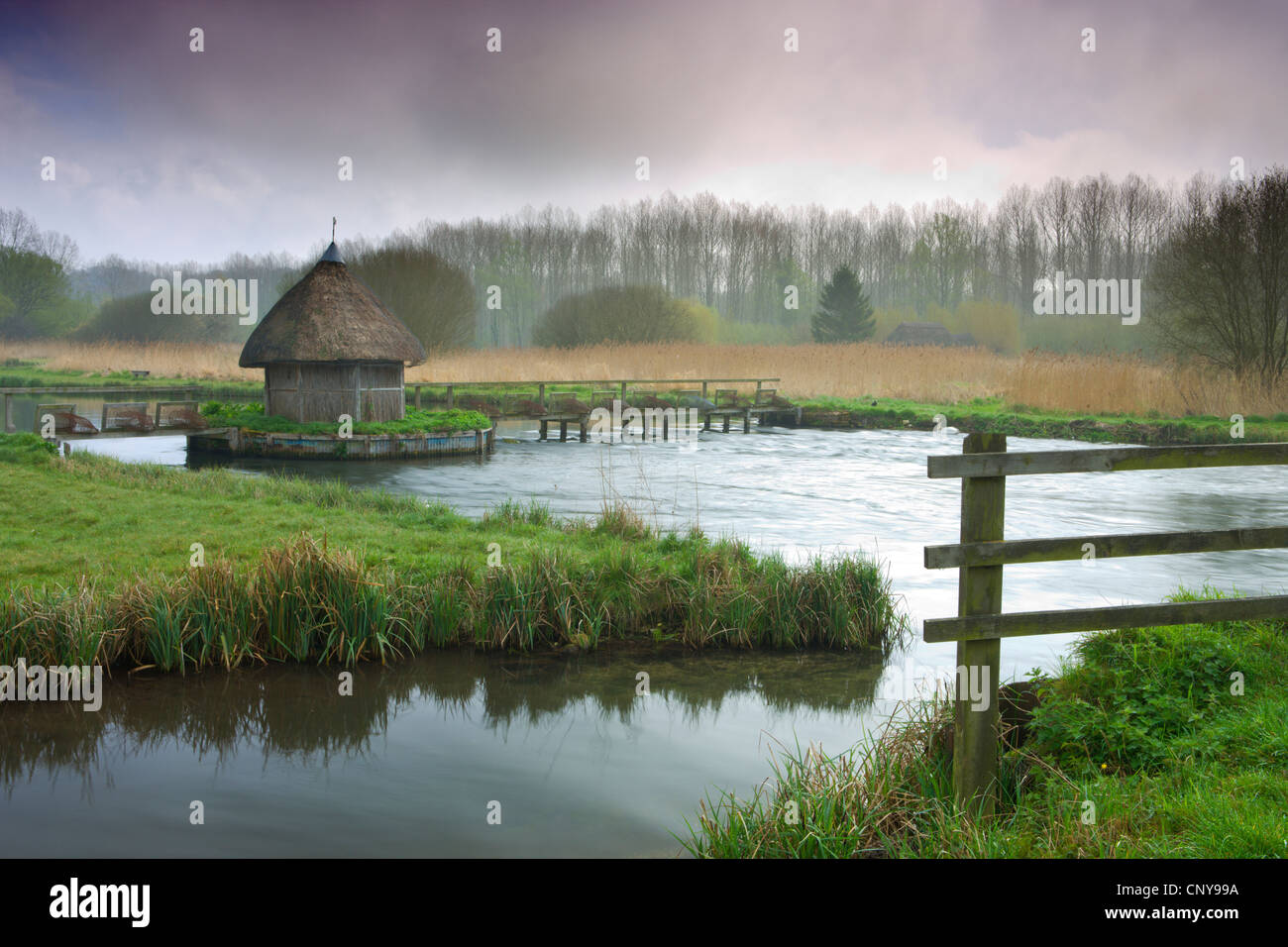 Thatched fisherman's hut and eel traps spanning the River Test near Leckford, Hampshire, England. Spring (April) - Stock Image