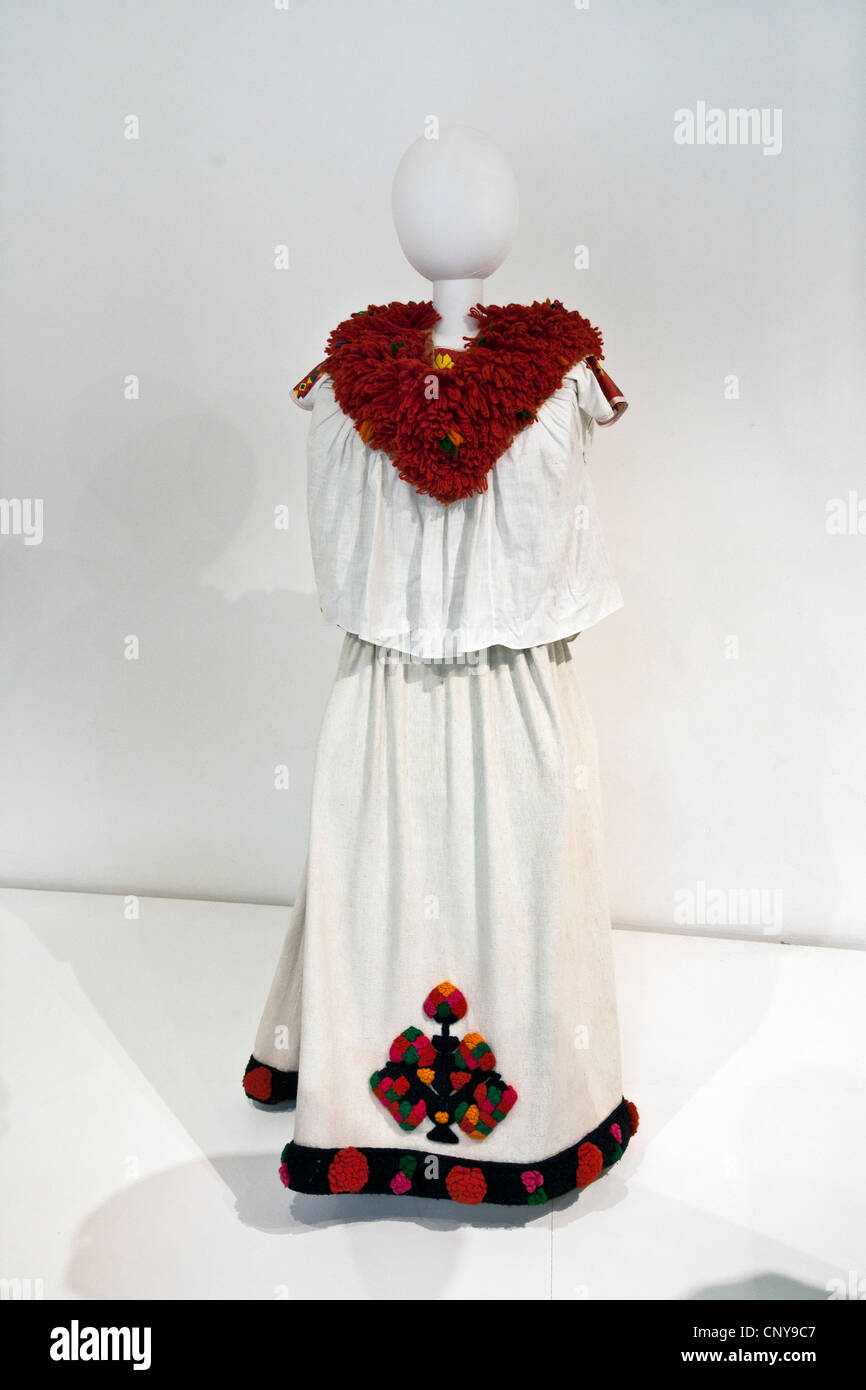 mannequin wearing lady's woven cotton shirt & skirt with brocade & embroidery from Veracruz Museo de - Stock Image