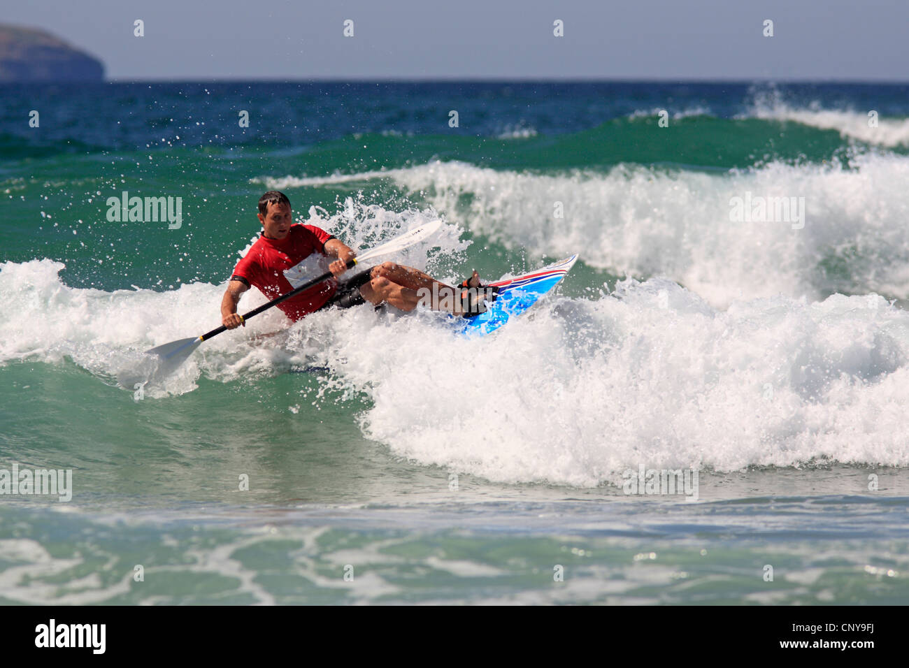World Champion Waveski Surfer Rees Duncan, competing at the 2009 World Titles at Emerald Beach, Coffs Harbour, NSW, - Stock Image