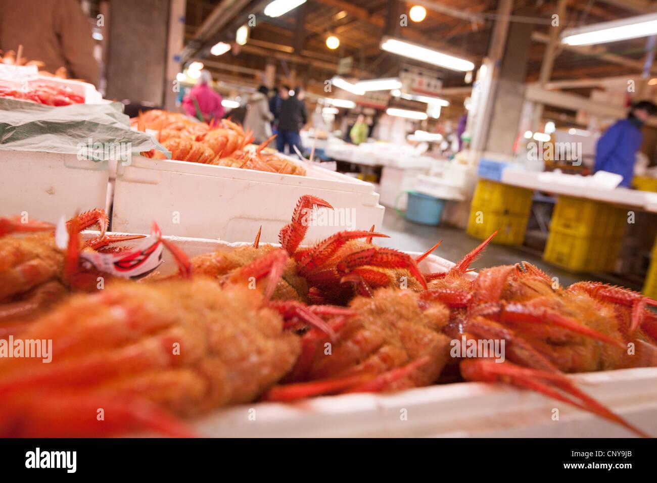 Scenes from inside the Shiogama fish market, in Shiogama town, near Ishinomaki, on the Miyagi coastline of Japan Stock Photo