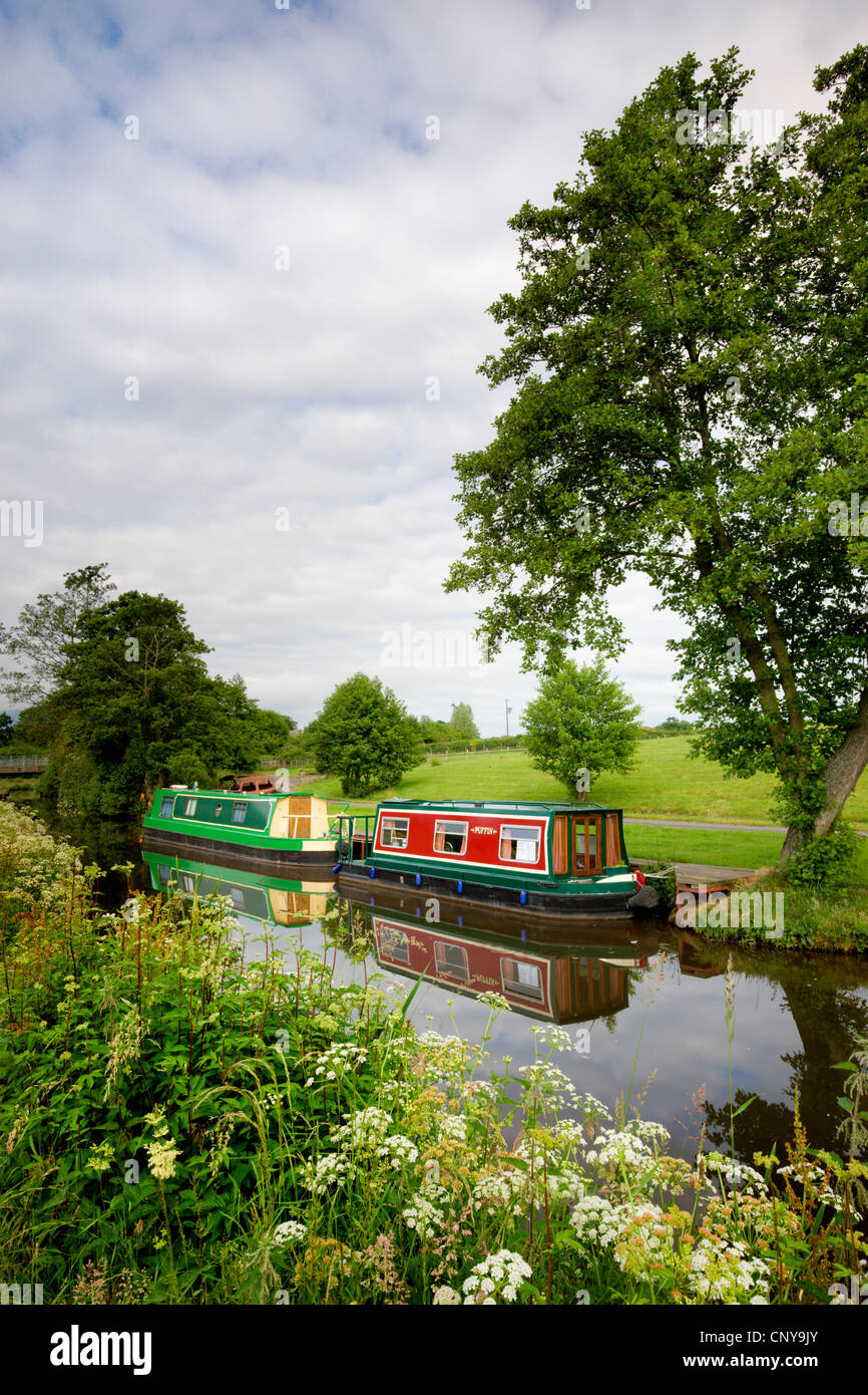 Narrowboats on the Monmouthshire and Brecon Canal near Llanfrynach, Brecon Beacons National Park, Powys, Wales, - Stock Image