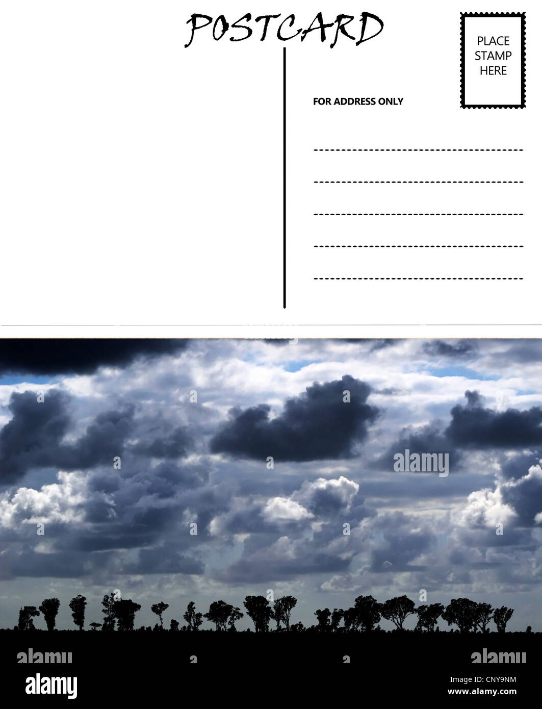 white empty postcard template with copy area with african cloudy sky