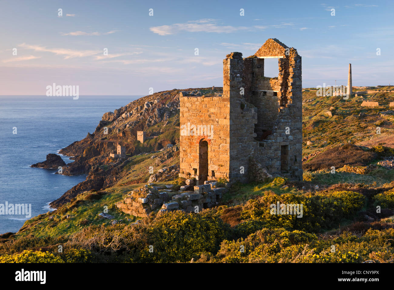 Abandoned tin mines on the Cornish cliffs near Botallack, Cornwall, England. Spring (April) 2010. - Stock Image