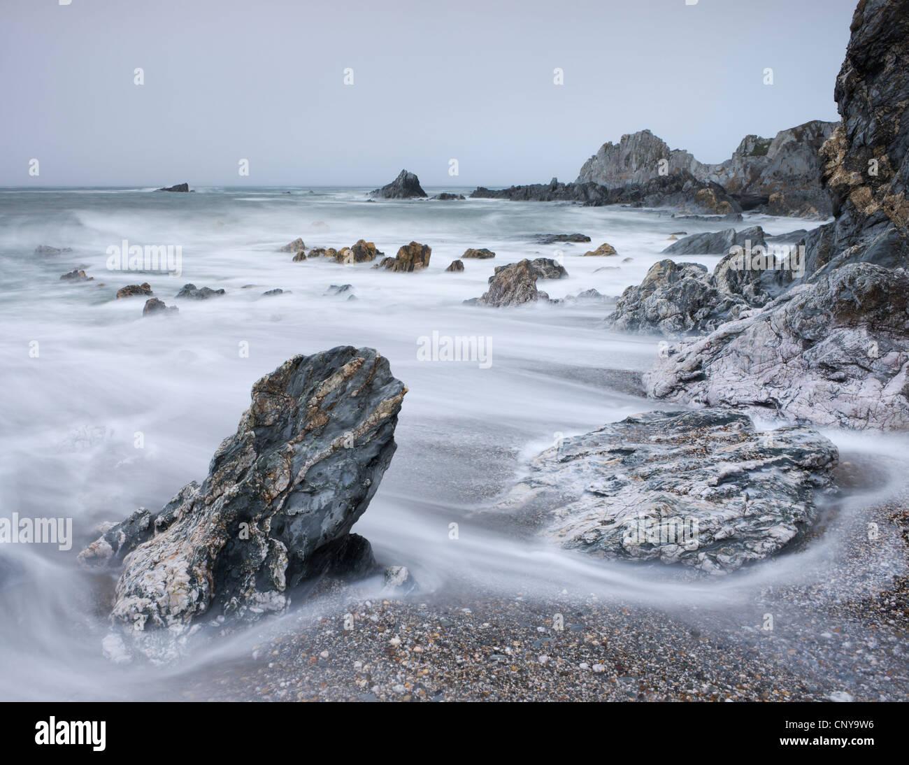 Rocky shore of Rockham Bay near Morte Point, North Devon, England. Summer (June) 2010. - Stock Image